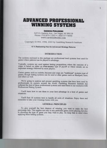 advanced professional winning systems book cover