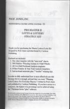 promaster ii lotto  lottery strategy kit book cover